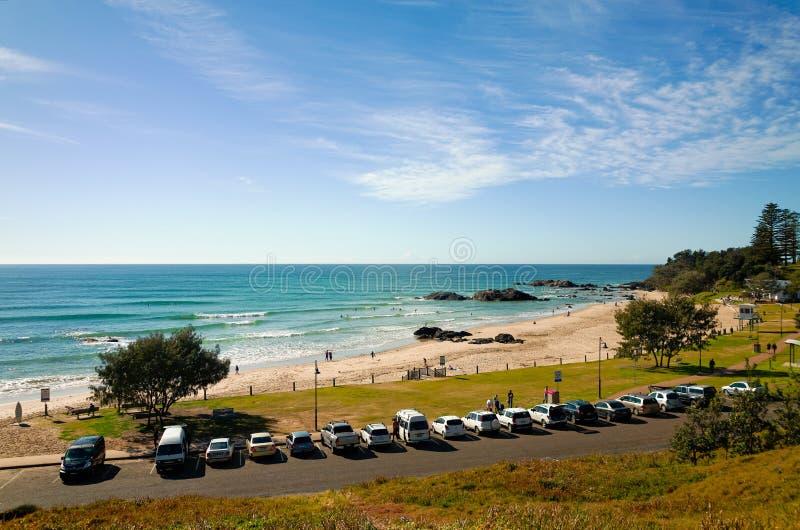Stadtstrand-Park am Hafen Macquarie Australien lizenzfreie stockbilder