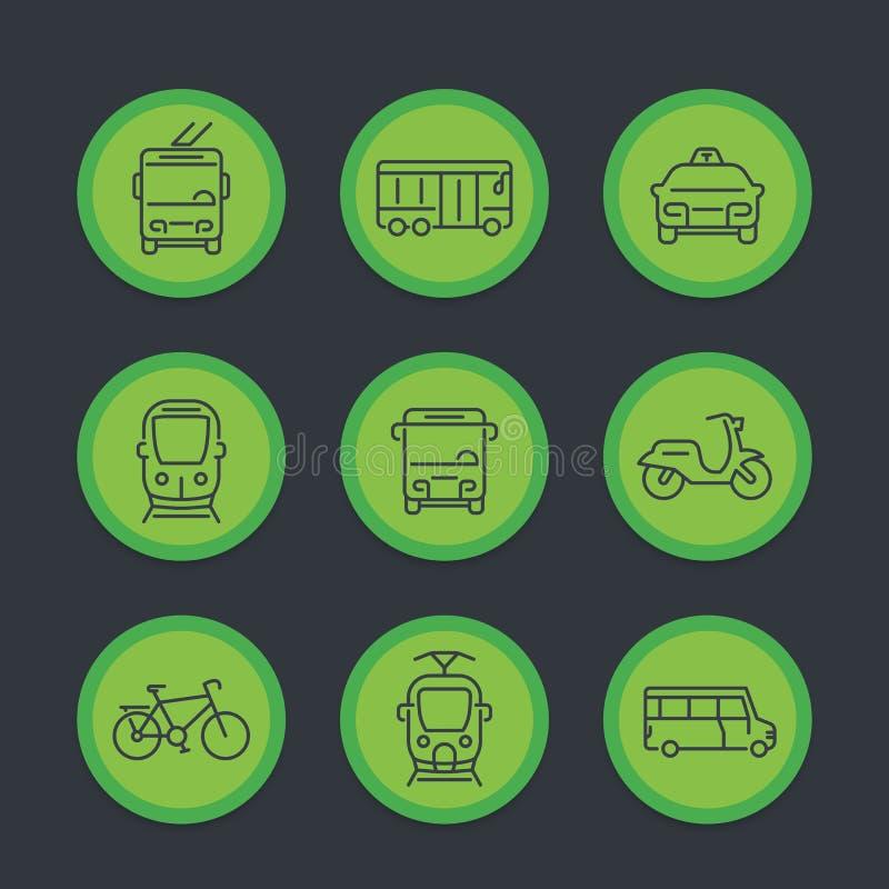 Stadttransport, Durchfahrtpackwagen, Fahrerhaus, Bus, Ikonen eingestellt lizenzfreie abbildung
