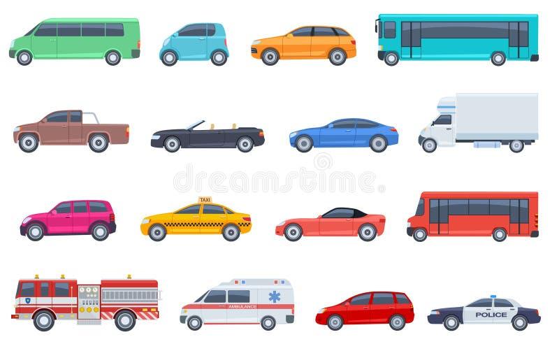 Stadttransportsatz Polizeiwagenkrankenwagen-Löschfahrzeug-Bustaxi Cabriolet suv Aufnahmenvektor lokalisierte flach städtisches lizenzfreie abbildung