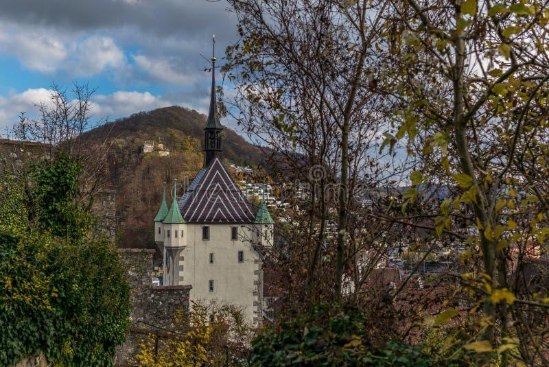 Stadtturm Baden w Szwajcaria obrazy royalty free