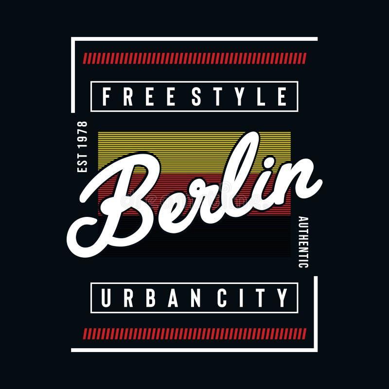 Stadttypographie-Entwurfst-stück Berlins städtisches für T-Shirt lizenzfreie abbildung