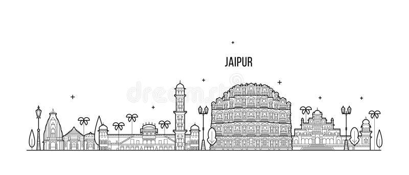 Stadtvektor Jaipur-Skyline Rajasthans Indien linear vektor abbildung
