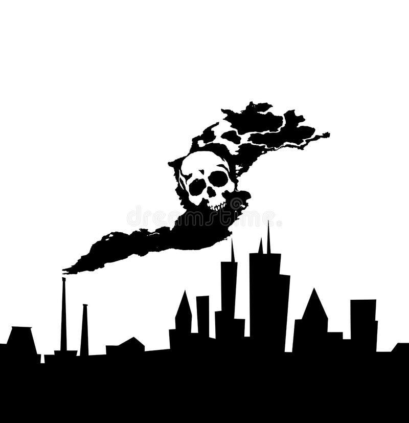 Stadtverunreinigungsindustrie-vektorabbildung stock abbildung