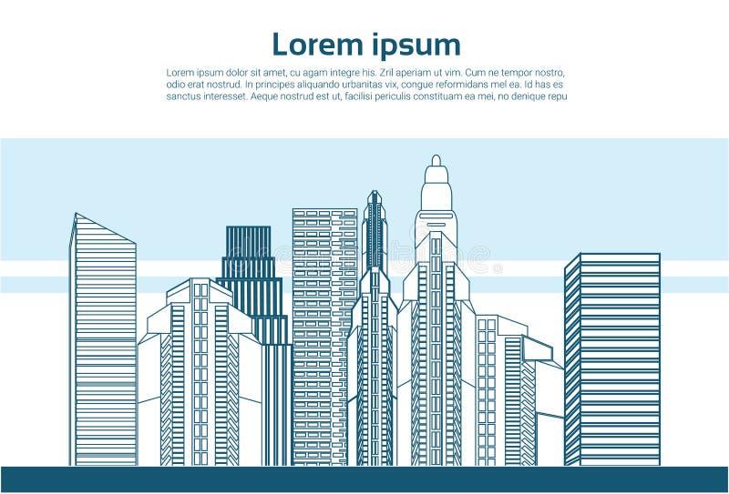 Stadtwolkenkratzeransicht-Naturverschmutzung über den weißen Hintergrundskylinen des Stadtbilds flach vektor abbildung