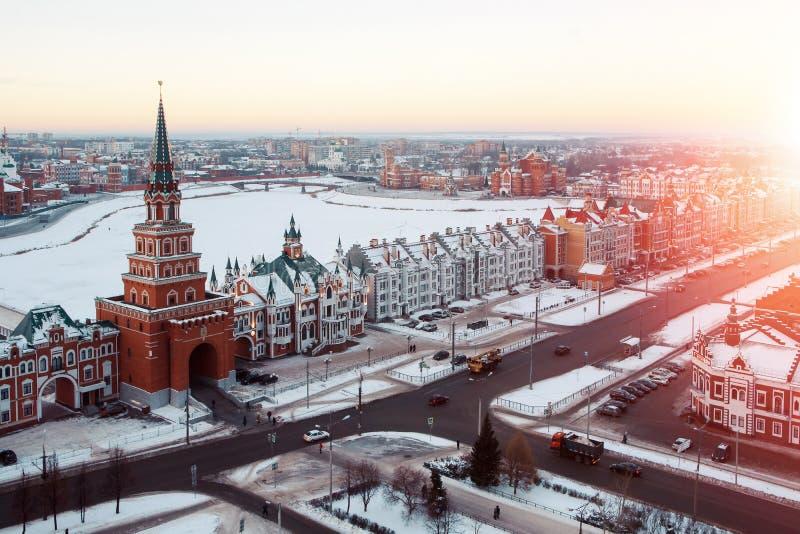 Stadtzentrum der Yoshkar-Olastadt, Russland stockfotografie