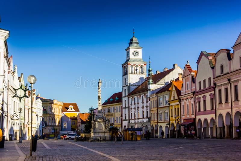 Stadtzentrum in Trebon, Tschechische Republik stockfotos
