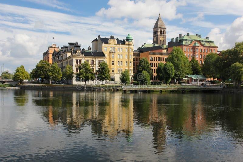 Stadtzentrum und Motala-Fluss. Norrkoping. Schweden stockbild