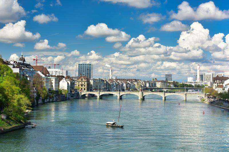 Stadtzentrum von Basel Der Rhein Basel, die Schweiz stockbilder