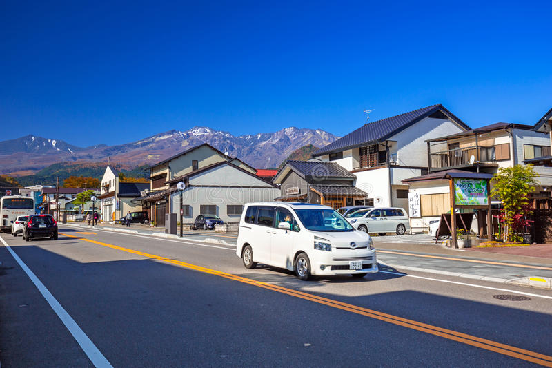 Stadtzentrum von Nikko-Stadt in Mittel-Japan lizenzfreies stockfoto