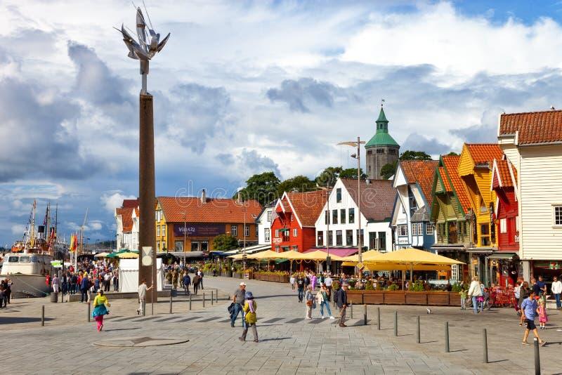 Stadtzentrum von Stavanger stockbilder
