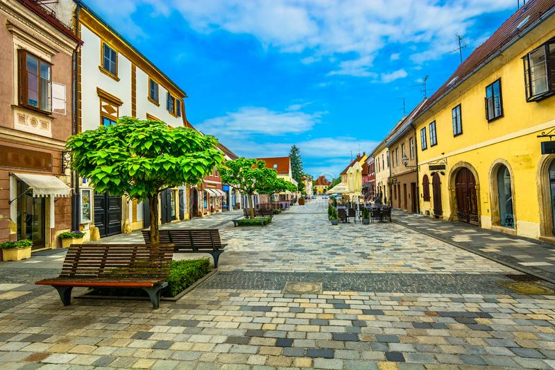 Stadtzentrum von Varazdin, Kroatien stockbild