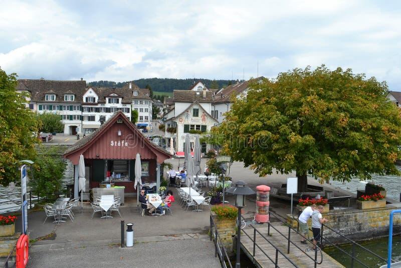 Stafa-Anlegestelle, See Zürich lizenzfreie stockfotos