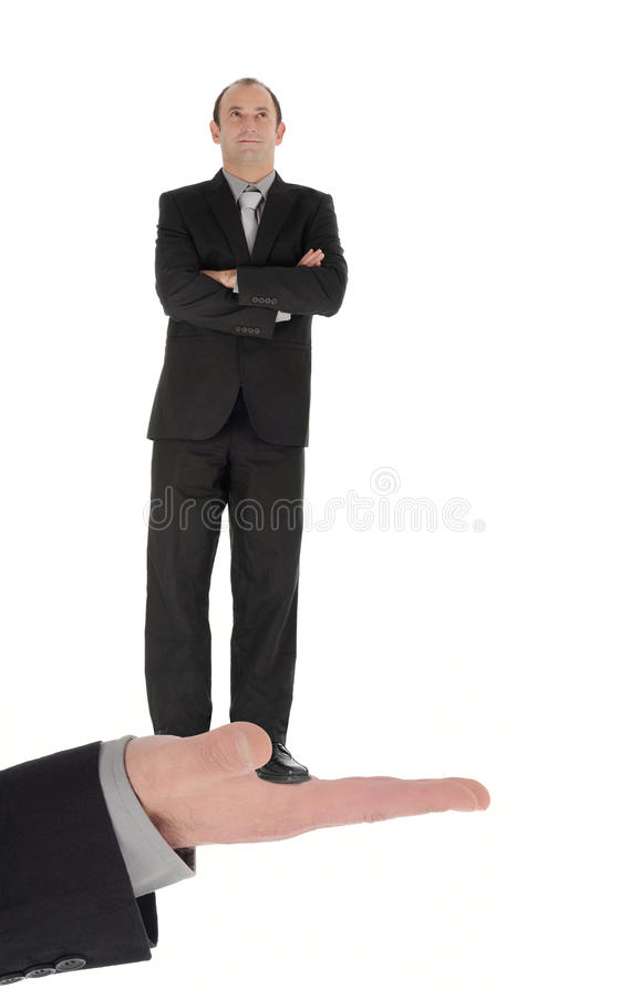 Staff. A hand offering a businessman stock image
