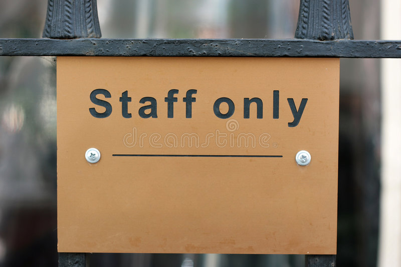 Staff only stock images