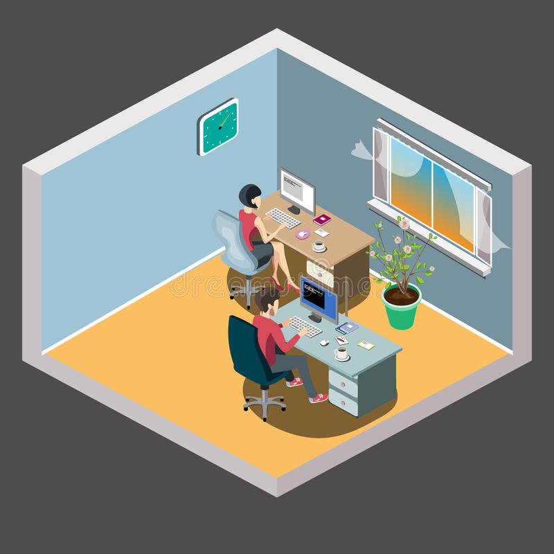 Staff around table with laptop tablet. Office meeting room. royalty free illustration