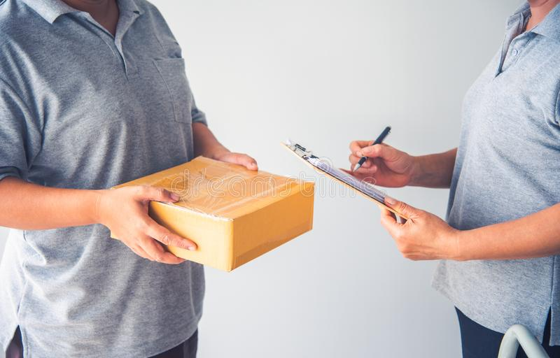 Staff are delivering goods and receiving goods. Staff are delivering goods and receiving goods royalty free stock photo