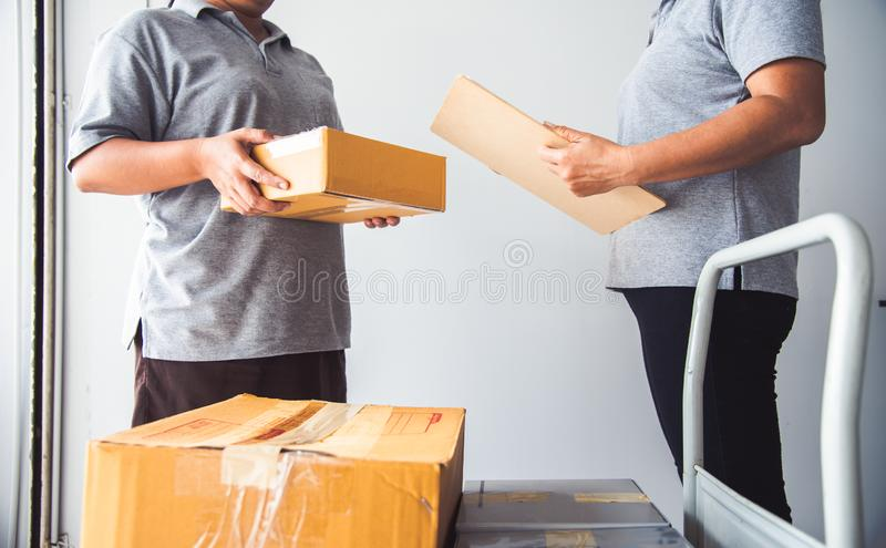 Staff are delivering goods and receiving goods.  stock photos