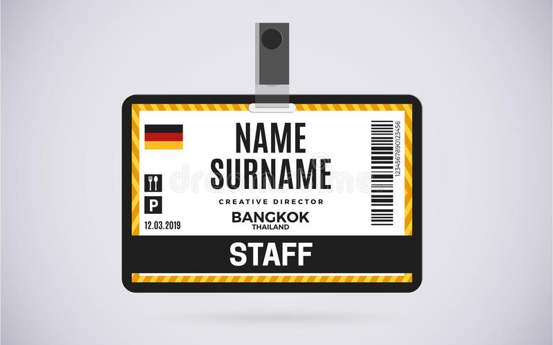 Staff id card plastic badge vector design illustration for Event name tag template