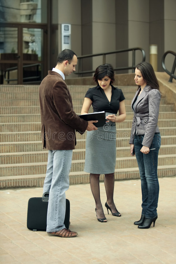 Download Staff meeting stock image. Image of business, outside - 5258109