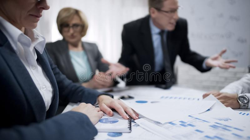 Staff members afraid of their yelling boss, deadline, nervous breakdown royalty free stock photography