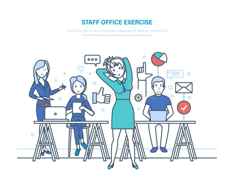 Staff office exercise. Business office workers. Clerk girl engaged exercise. royalty free illustration