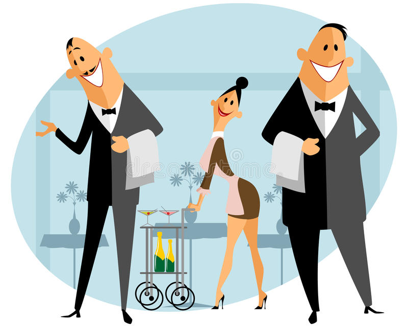 Staff in the restaurant royalty free illustration