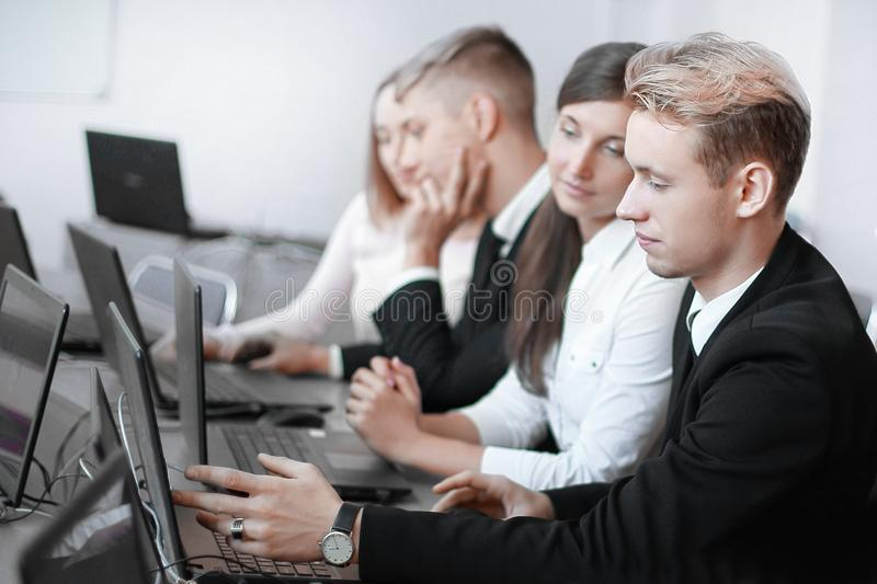 Staff training in the conference room, training and development of people. Business and education stock image