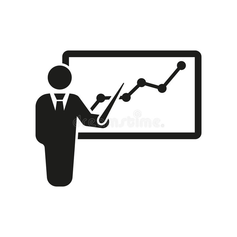 The staff training icon. Presentation and lectures, presentations, workshops, seminar symbol. UI. Web. Logo. Sign. Flat vector illustration
