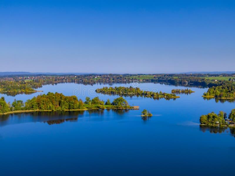 Staffelseemeer dichtbij Murnau, Beieren, Duitsland stock afbeelding