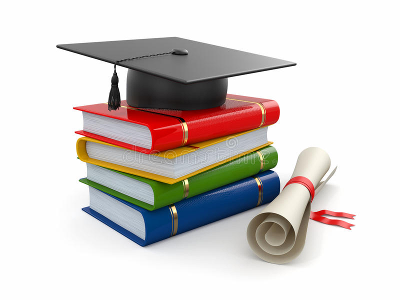 Staffelung. Mortarboard, Diplom und Bücher. 3d stock abbildung