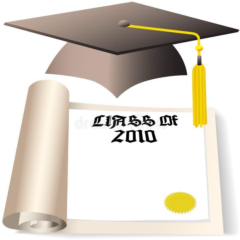 Staffelung-Schutzkappen-Diplom-Kategorie von 2010 stock abbildung