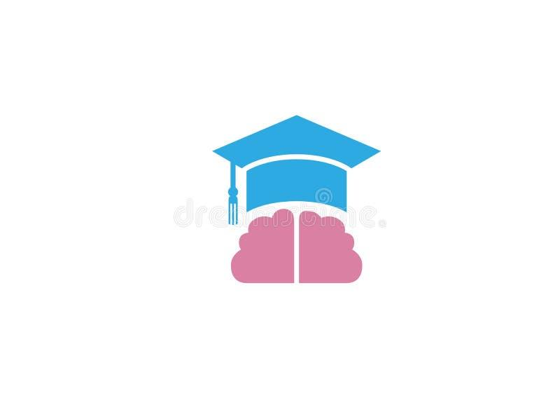 Staffelungs-Hut und Gehirn für Logoentwurf stock abbildung