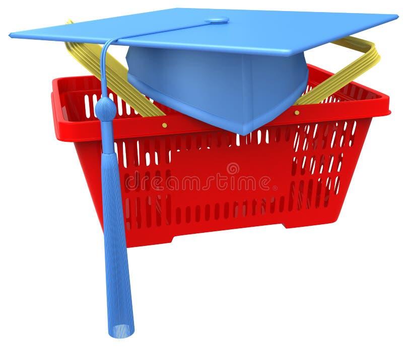 Staffelungscollegeschuleinkaufskorb lizenzfreie abbildung