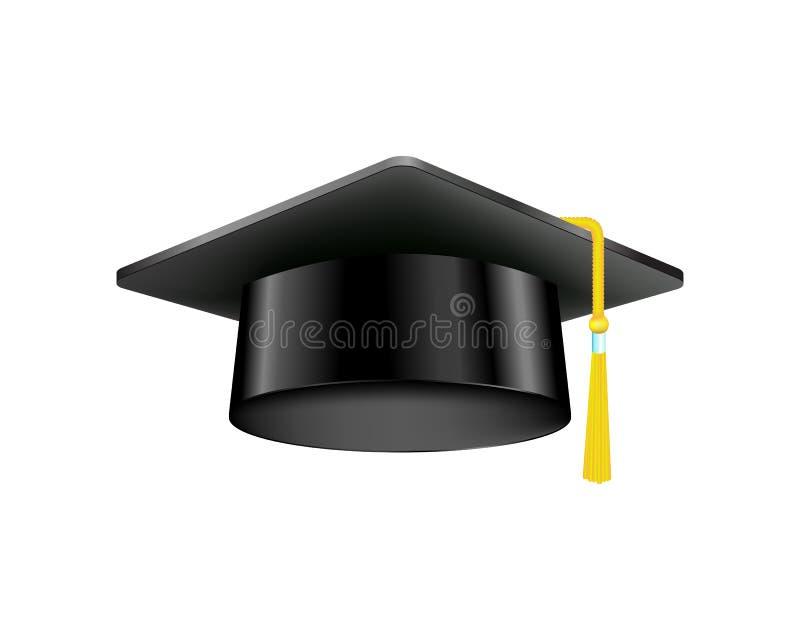 Staffelungskappe mit Goldquaste lokalisierte akademisches illusration Vektor des schwarzen Hutes der Bildungszeremonie stock abbildung