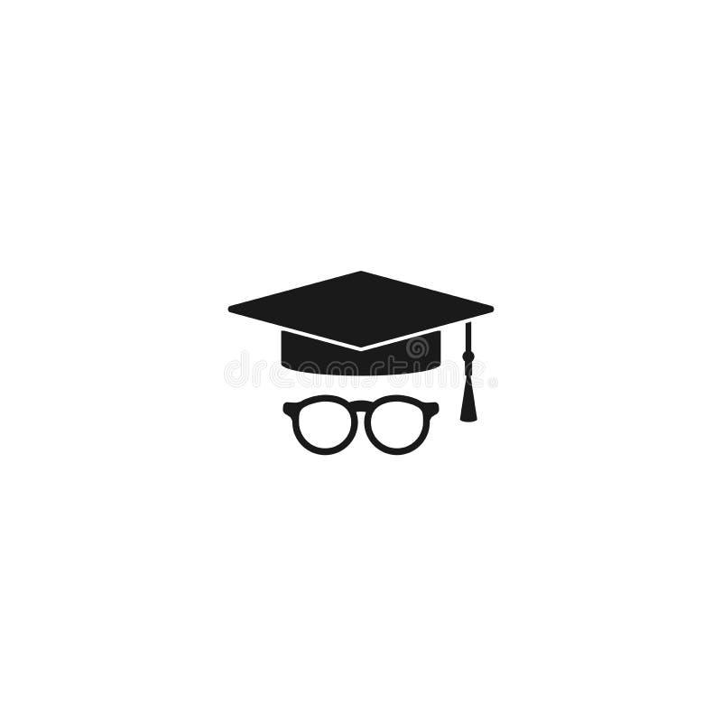 Staffelungskappen- oder -mörserbrettikone mit Quaste und Gläsern Flache Illustration lokalisiert auf Weiß lizenzfreie stockfotografie