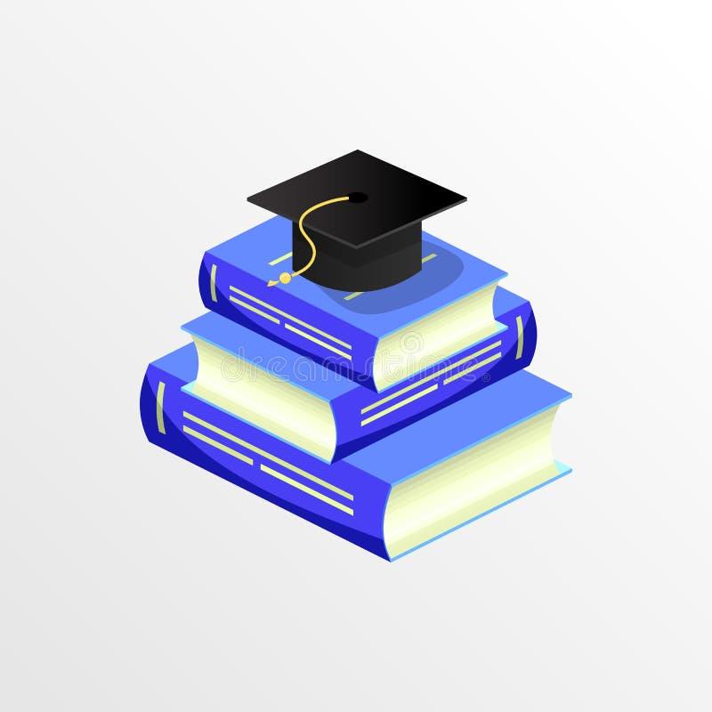 Staffelungskappen- und -buchvektor der Bildung akademischer stock abbildung