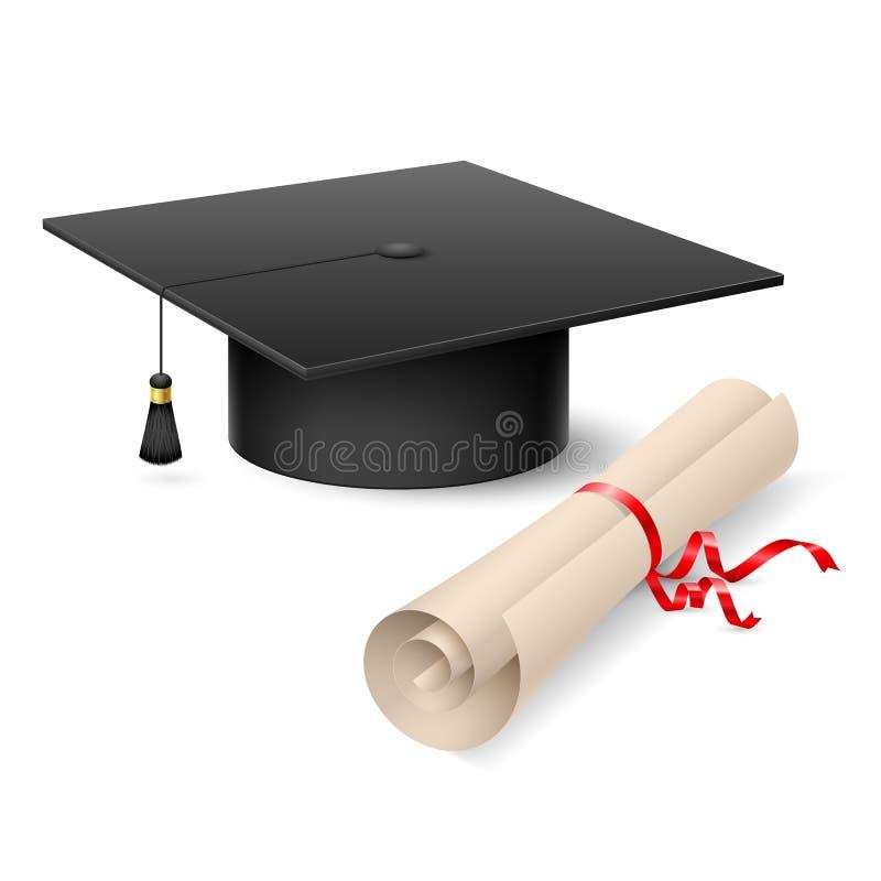 Staffelungsschutzkappe und -diplom vektor abbildung