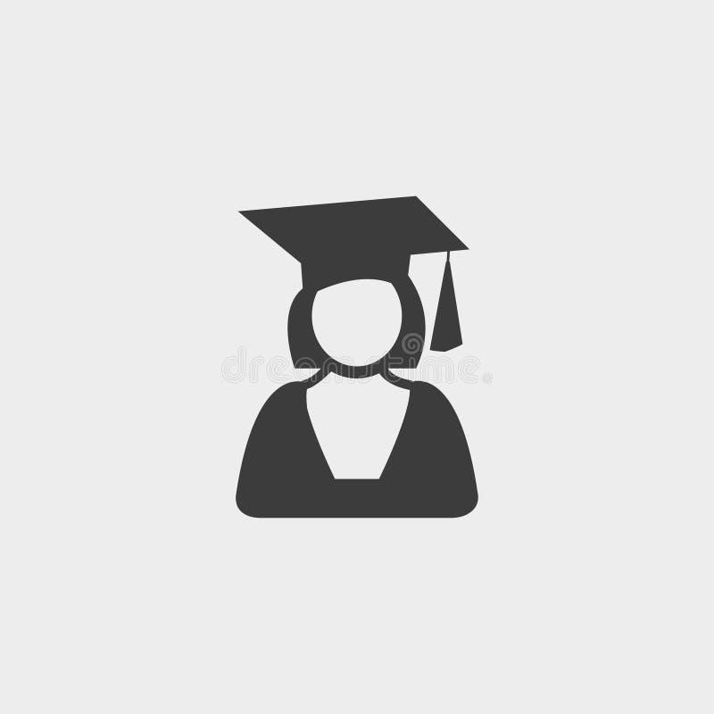 Staffelungsstudenten-Ikonenmädchen in einem flachen Design in der schwarzen Farbe Vektorabbildung EPS10 lizenzfreie abbildung