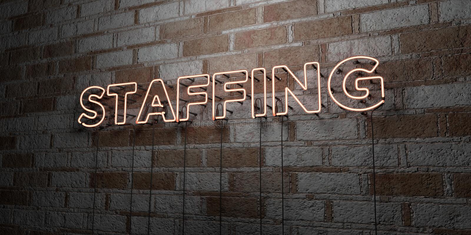 STAFFING - Glowing Neon Sign on stonework wall - 3D rendered royalty free stock illustration. Can be used for online banner ads and direct mailers vector illustration