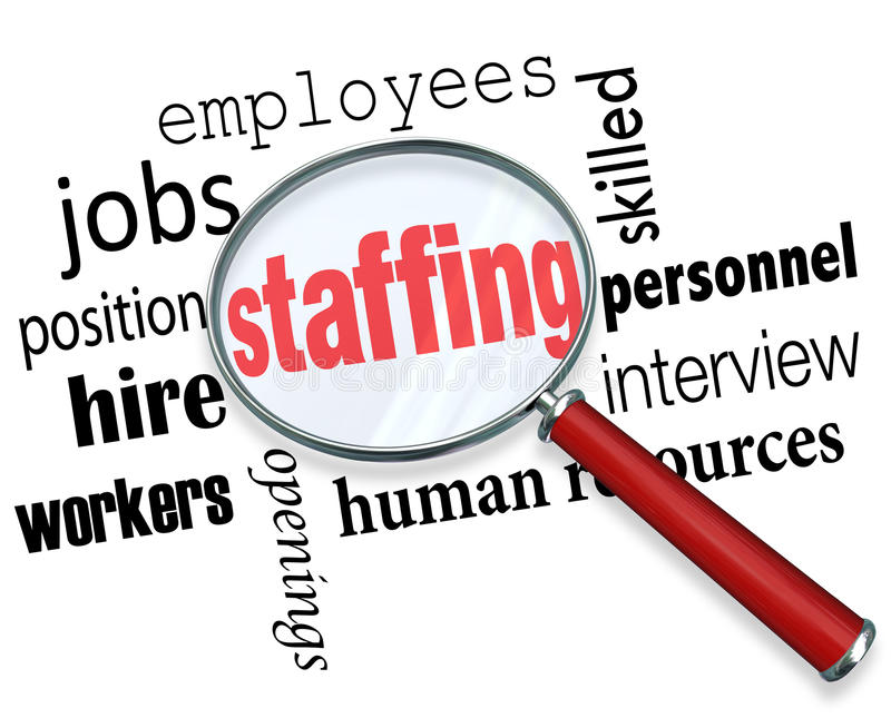 Staffing Magnifying Glass Words Human Resources Hiring Employees. Staffing words under a magnifying glass with related terms like jobs, position, workers vector illustration