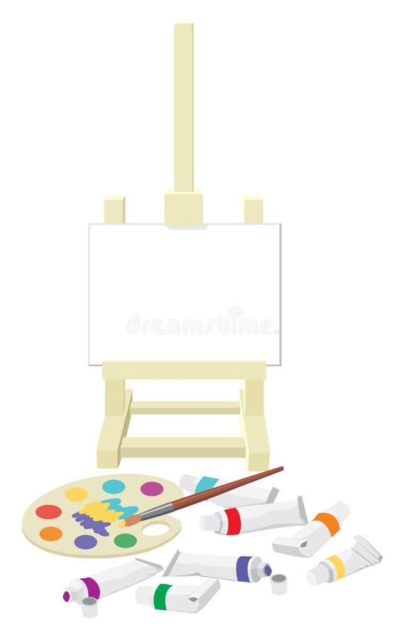 stafflin målar paletten royaltyfri illustrationer