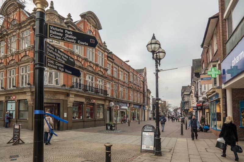 Stafford High Street, Staffordshire stock photo