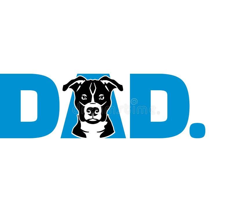 Staffordshire Bull terrier papa in blauw vector illustratie