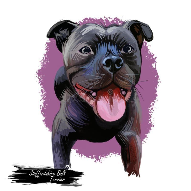 Staffordshire Bull terrier Staffie, klein tot middelgroot ras van kortharig, Digitaal art De dierlijke close-up van het waterverf vector illustratie