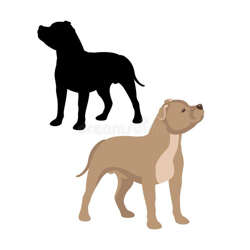 staffordshire bull terrier vector vlak zwarte illustratiestijl vector illustratie