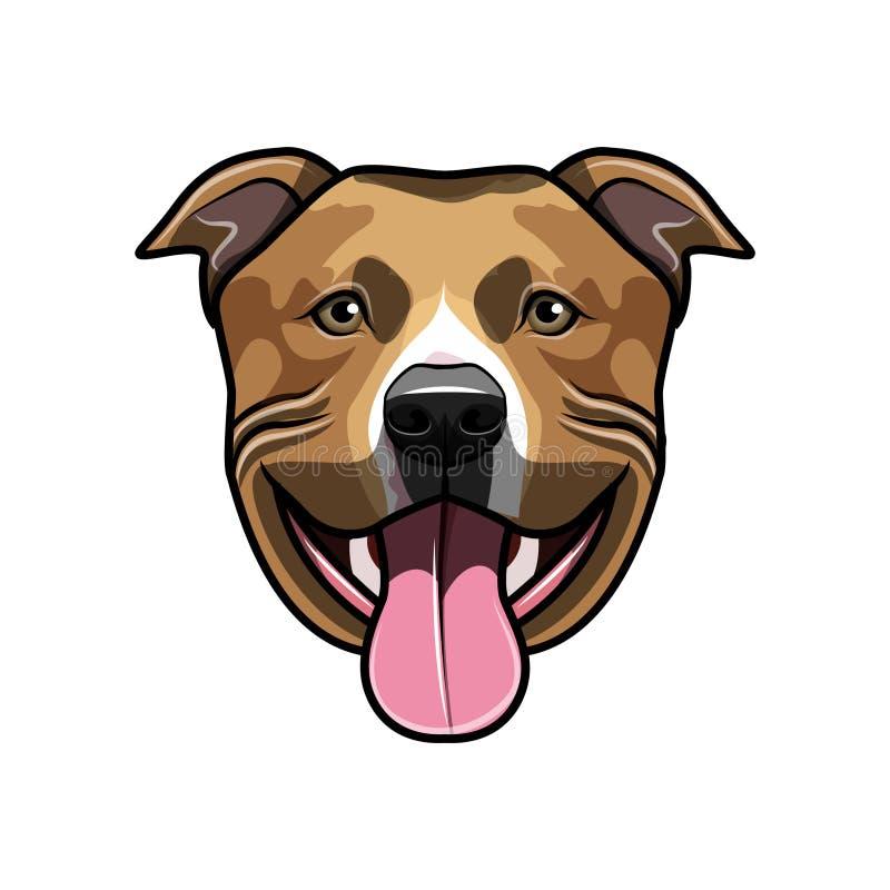 Smiling Pitbull Illustration Stock Vector - Illustration ...