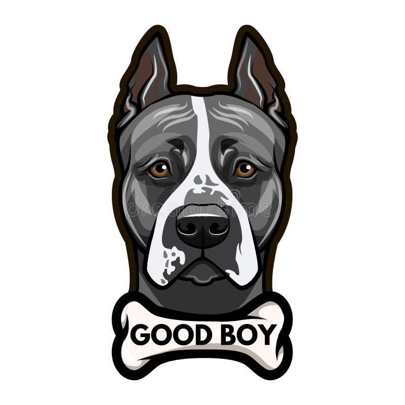 Staffordshire Terrier hondportret been Het goede jongen van letters voorzien Vector stock illustratie