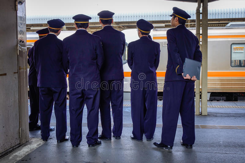 Staffs at the station in Nagoya, Japan. Staffs of JR at the station in Nagoya, Japan stock photos