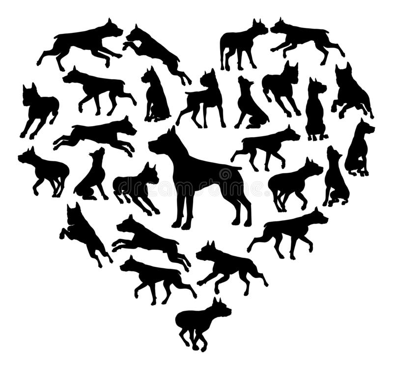 Staffy Dog Heart Silhouette Concept vector illustration