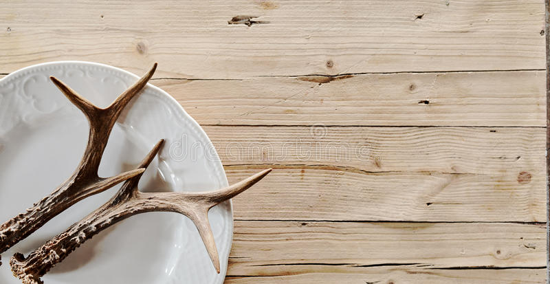Stag antlers on a plate and rustic woodgrain stock photography